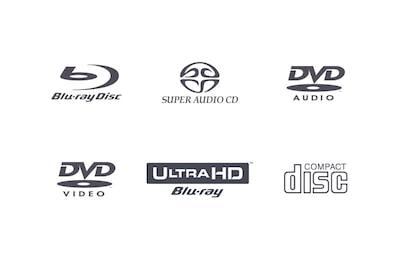 Suderinamų diskų formatų logotipai