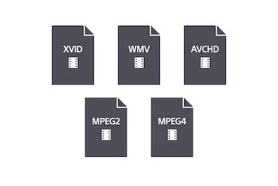 Suderinamų transliavimo formatų logotipai