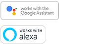 """Google Assistant built-in"" ir ""Amazon Alexa built-in"" logotipai"