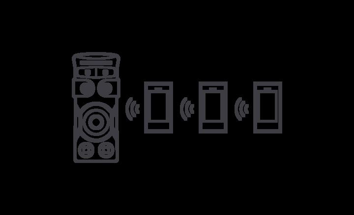 Trys išmanieji telefonai, belaidžiu ryšiu prijungti prie MHC-V71D