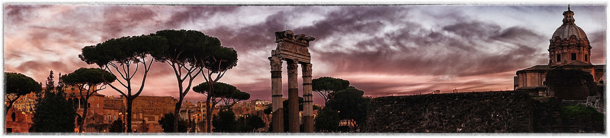 dilian markov sony alpha 7II foro di cesare in rome panoramic at sunset