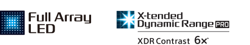"""Full Array"" LED televizoriaus ir dinaminio diapazono ""X-tended Dynamic Range"" logotipai"