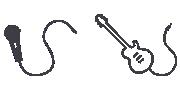 Mikrofono ir gitaros piktogramos
