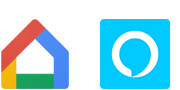 """Google Home"" ir ""Amazon Alexa"" logotipai"